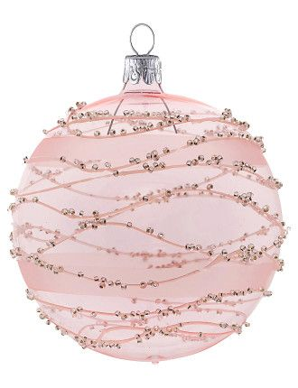 Light Pink Bauble With Bead Lines