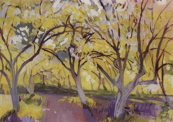 Зинаида Серебрякова «Фруктовый сад в цвету. Нескучное» (1908),