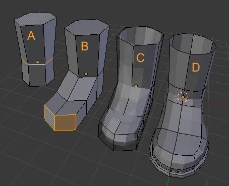 Here is my low poly way: On the lower leg, loop cut ankle line. Extrude foot shape from front polygon, 2 steps. Add subsurface modifier and you get the base shape. Extrude sole geometry from bottom and add some loop cut to refine the shape. - See this image on Photobucket.