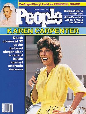 photo | Untimely Deaths, 1980, Died Too Young, Eating Disorders and Struggles, Karen Carpenter Cover, Scary Skinny, Cheryl Ladd, Karen Carp...