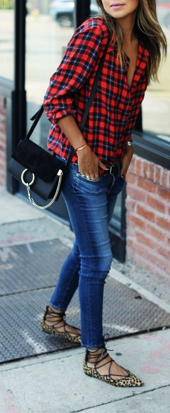 Red plaid button down + leopard lace up flat.