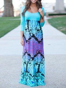 Shop Blue Paisley Print 3/4 Sleeve Maxi Dress from choies.com .Free shipping Worldwide.$26.99