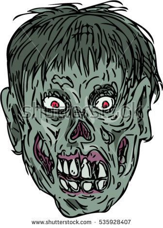 Drawing sketch style illustration of a zombie skull head viewed from front set on isolated white background.   #zombie #drawing #illustration