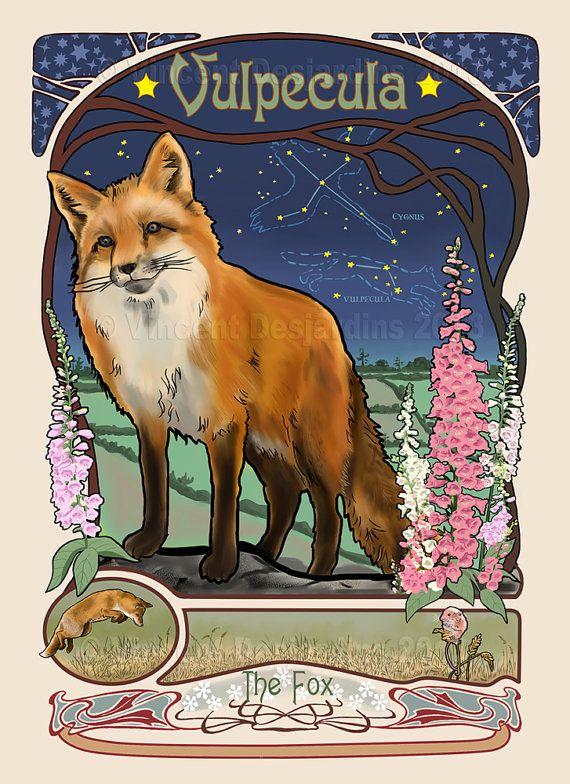 fox constellation print of original art nouveau style illustration art nouveau illustration. Black Bedroom Furniture Sets. Home Design Ideas