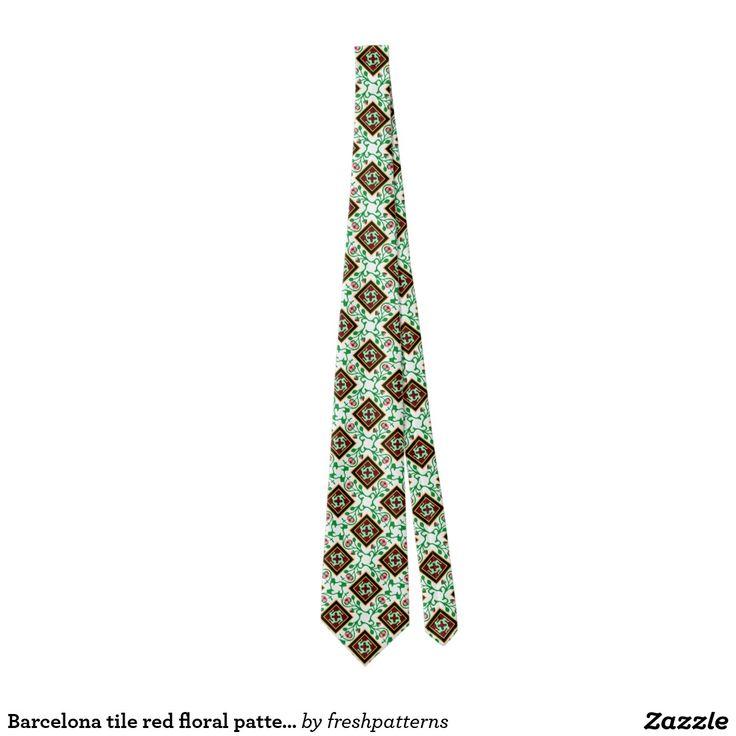 Barcelona tile red floral pattern tie
