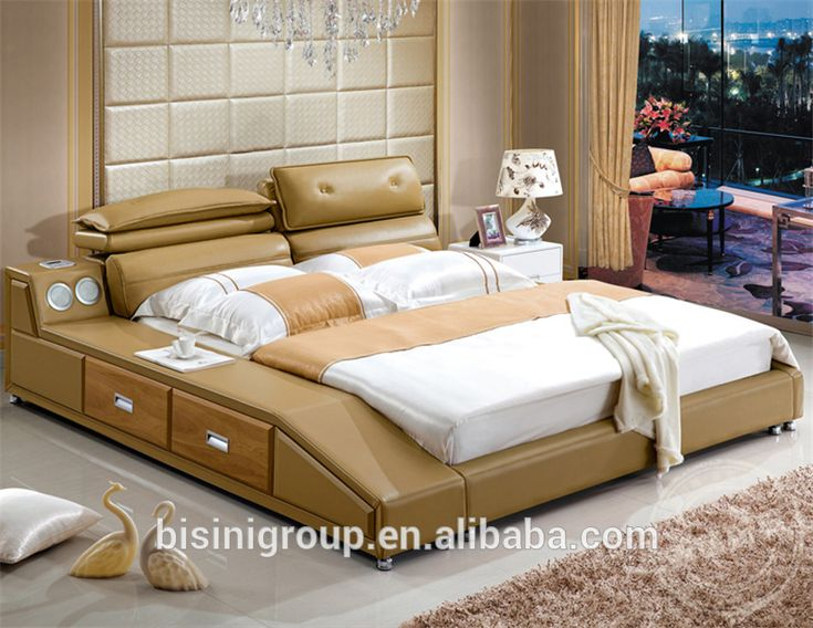 Bisini Modern Bedroom Furniture Soft Leather Bed King Size Music Bed With  Built In Speaker Amazing Design