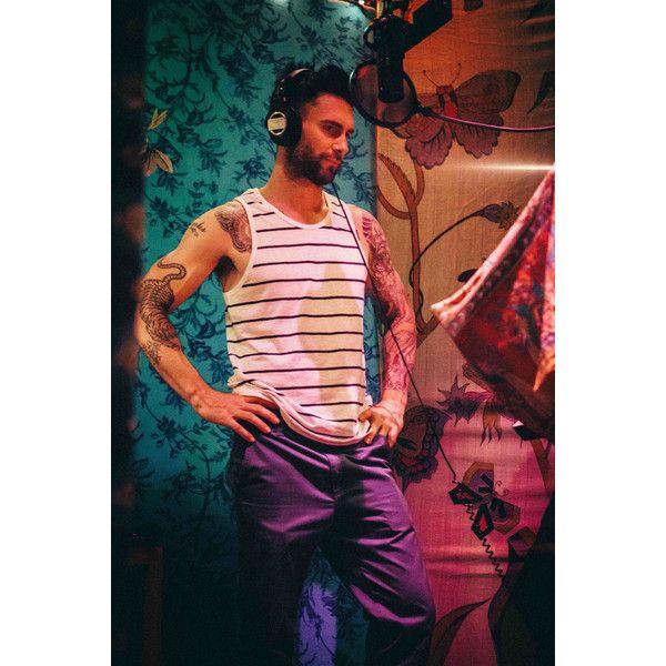 Adam Levine Behind the Scenes Recording Maroon 5 Album 'V' ❤ liked on Polyvore featuring adam levine