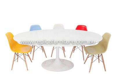 Oval Tulip Table - Replica Eero Saarinen Oval Tulip Dining Table with Replica Eames Chairs