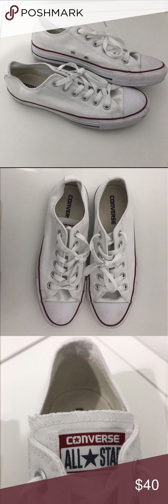 white low top converse authentic white low top converse in women's size 8.5. worn once, price is negotiable. Converse Shoes Sneakers