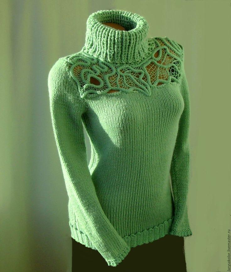 Купить Свитер,,Однажды...,, - мятный, свитер, свитер вязаный, свитер женский…
