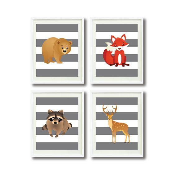 Woodland Animal Nursery Art Print Set-Four 11x14-Kids Room, Baby Boy or Girl Bedroom Decor-Bear-Raccoon-Fox-Deer