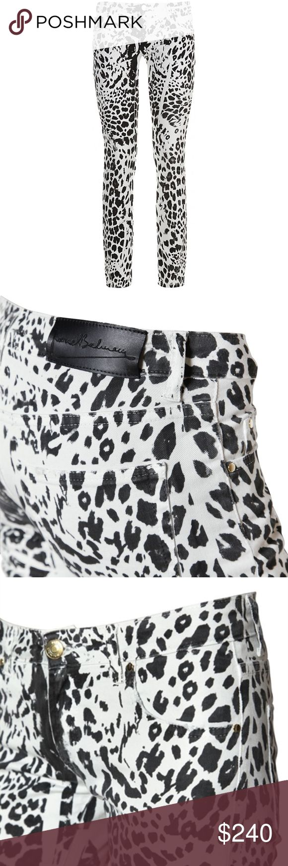 PIERRE BALMAIN Animal Leopard Print Skinny Jeans Low-rise with concealed zip fly, five pocket styling with metal rivets, 98% cotton, 2% elastane, made in italy. Color: léopard Pierre Hardy Jeans Skinny
