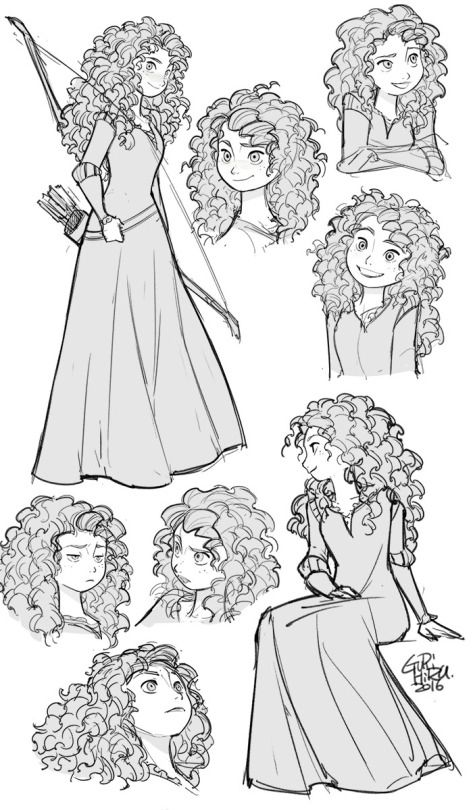Gurihiru art for Merida novels.