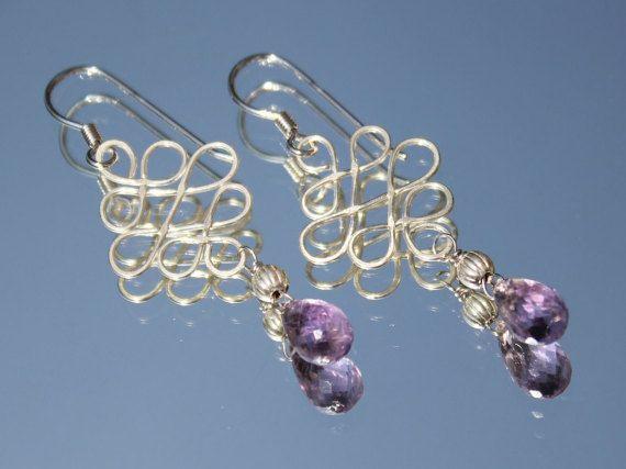 Orecchini argento con ametiste preziose pietre semipreziose orecchini donna pendenti argento vendita gioielli online per lei orecchini moda by XeniaJewellery #italiasmartteam #etsy