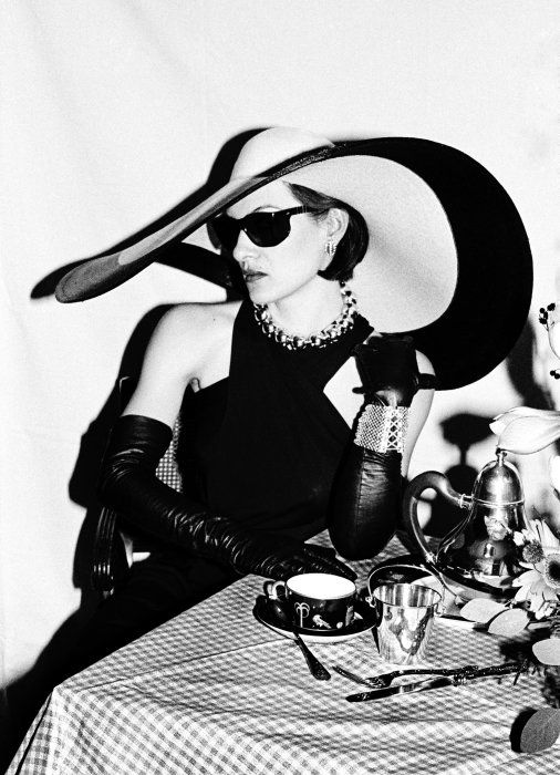Paloma Picasso in a maxi, cut-out LBD at Tiffany & Co. New York,1980. Photo: Roxanne Lowit.