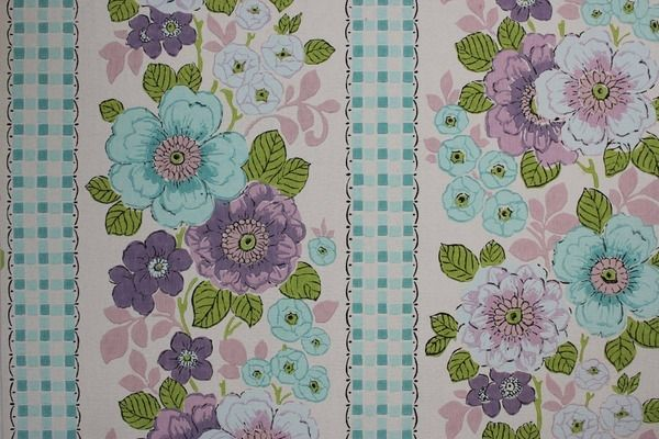 Rosie's Vintage Wallpaper - Aqua and Purple Floral with Check Vintage Wallpaper, $105.00 (http://www.rosiesvintagewallpaper.com/aqua-and-purple-floral-with-check-vintage-wallpaper/)