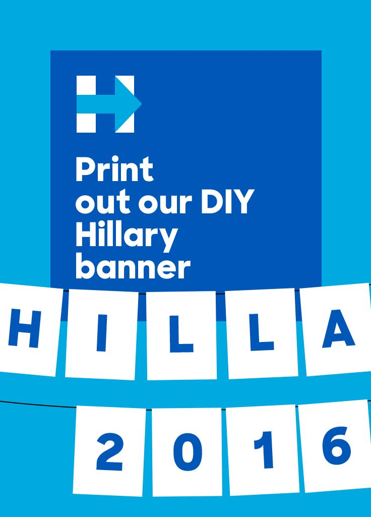 Complete your Debate Watch Party decor with this printable PDF Hillary 2016 banner!
