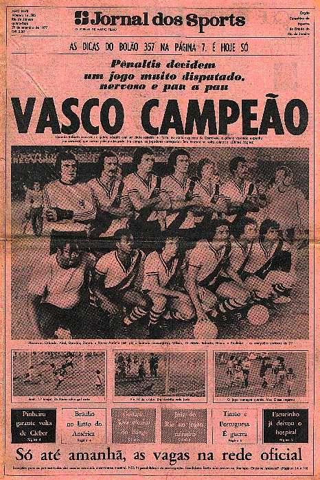 NETVASCO - 28/09/2007 - 00:00 - <b>Há 30 anos, Vasco vencia Urubu nos pênaltis e era campeão carioca</b>