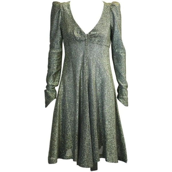 Biba, London Gold Metallic Baby Doll Dress (1,260 NZD) ❤ liked on Polyvore featuring dresses, short green dress, short jersey dress, baby doll dress, metallic short dress and short dresses