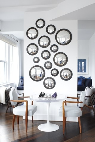 convex mirrors, looks like a wall of bubbles unbreakable security mirrors