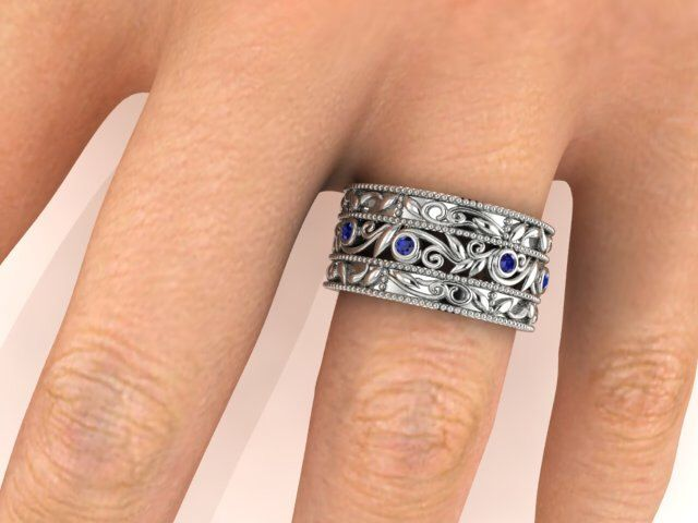 Valentine's Day Gifts, Valentine's Day  Proposal Ring, Elegant Wedding band, Natural Emeralds Eternity band, vine & leaf wide sapphire band by BridalRings on Etsy https://www.etsy.com/listing/264351485/valentines-day-gifts-valentines-day