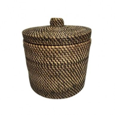 Rattan Round Canister Brown