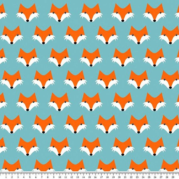 Cotton Fabric Foxes  Fox Foxes  Teal White Orange by ScarfandStuff
