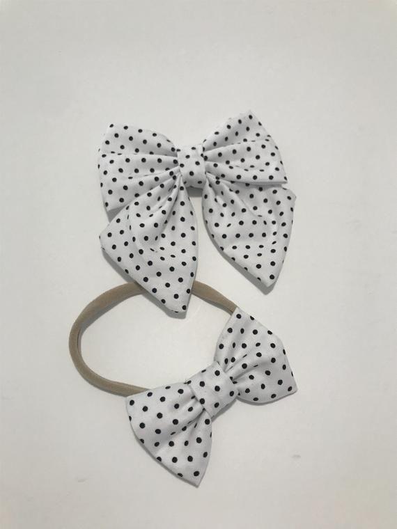 Polka Dots Large Bow Girls Headband Soft Cotton Elastic baby Hairband bow