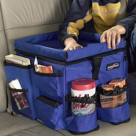 Conveniently store snacks drinks toys and more within your child's reach with the Backseat Car Organizer.