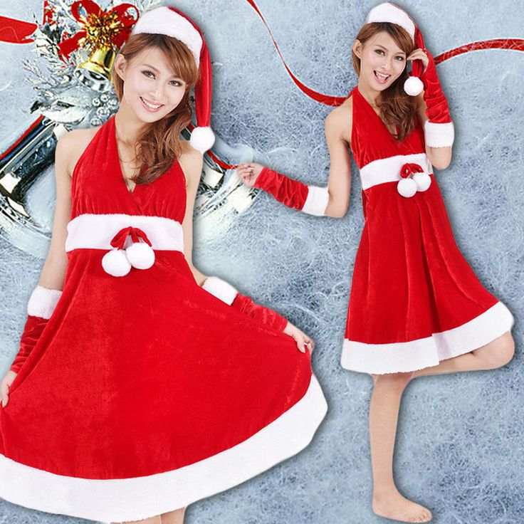 2016 New Year Merry Christmas Red Costumes For Women Sexy Adult Girls Christmas Halter Dress female Christmas costumes♦️ SMS - F A S H I O N  http://www.sms.hr/products/2016-new-year-merry-christmas-red-costumes-for-women-sexy-adult-girls-christmas-halter-dress-female-christmas-costumes/ US $18.00