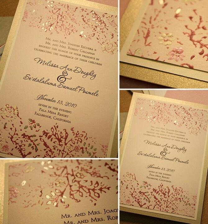Pink U0026 Gold Wedding Invitations