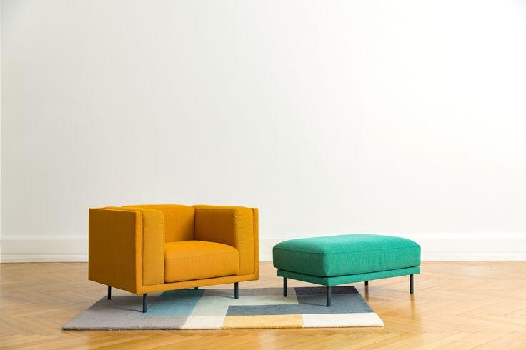 Manhattan Armchair and Ottoman in Zero Spot Rug from Linie Design