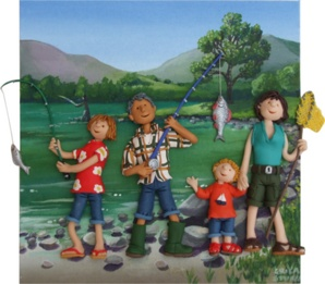 Fishing on the Lake - Erica Sturla.  Erica has used polymer clay on an acrylic background to create this three-dimensional figurative piece.