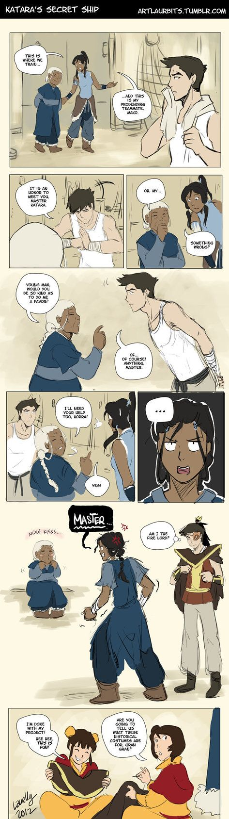 1. Katara is apparently a happily married secret Zutarian in my head. 2. She needed to keep those kids preoccupied while babysitting. 3. Korra does not approve. ---