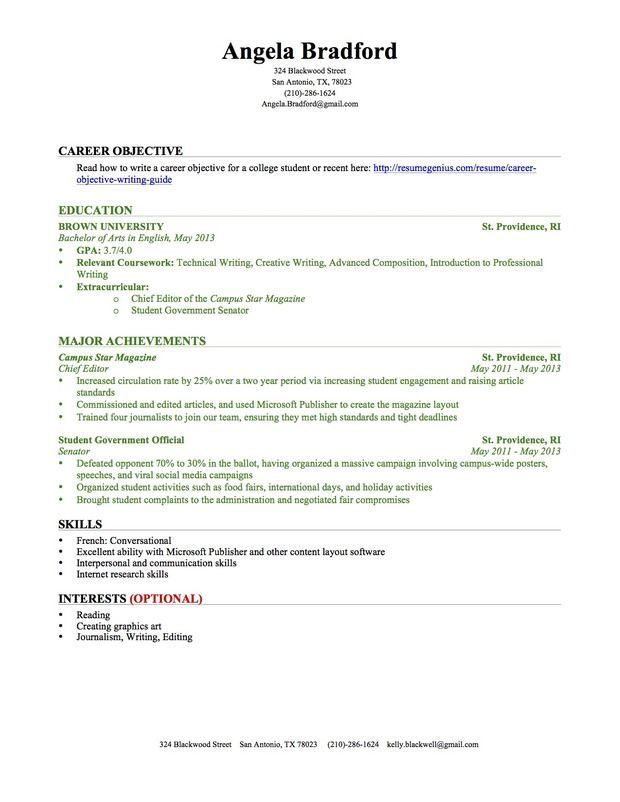 College Student Cover Letter (Text Format)