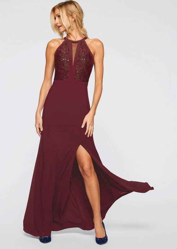 9b6532ed98 Bordowa sukienka wieczorowa z koronką i cekinami    Długa suknia wieczorowa   długie suknie wieczorowe