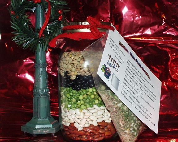 Rainbow Bean Soup Mix in a Quart Jar from Food.com:   								This makes a great gift. I have made many welcome/gift baskets for my neighbors. When I give the gift, I add a can of crushed tomatoes and a package of soup crackers.