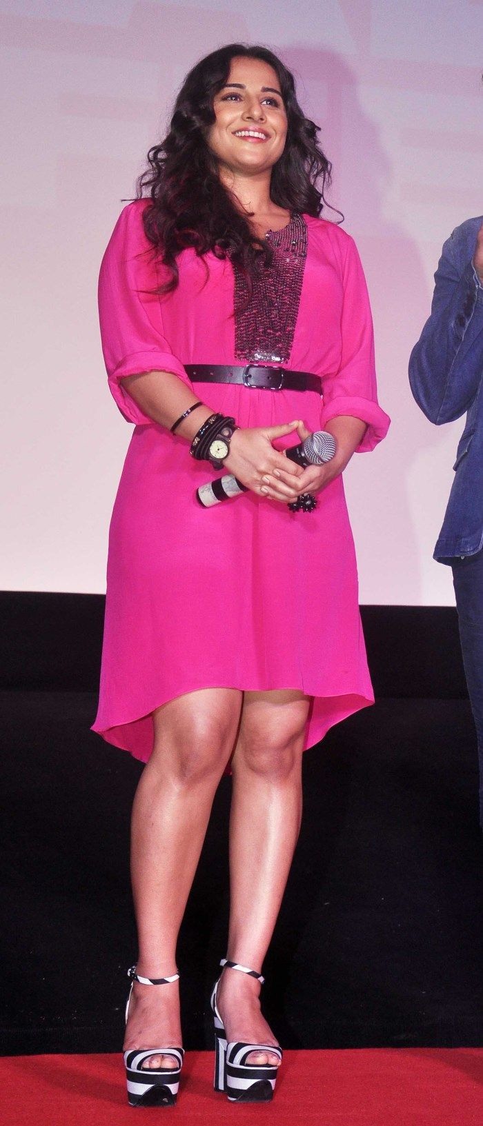Actress Vidya Balan In Short Pink Dress Hot Stills -8928