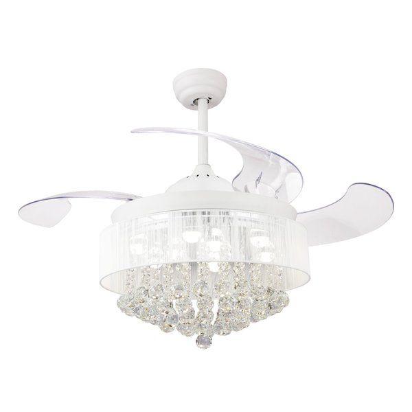 46 Quot Broxburne 4 Blade Led Ceiling Fan With Remote Light Kit Included Chandelier Fan Ceiling