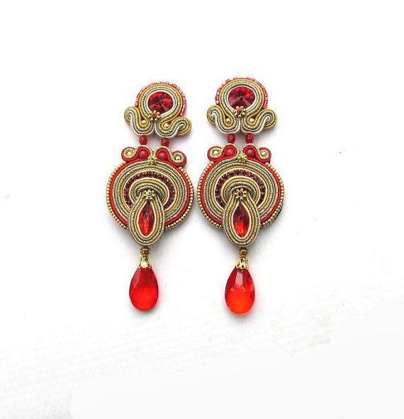 Long Gold Clip -On Earrings - Long Soutache Earrings with Crystals - Red and Gold Clip On Earrings - Soutache Earring - Handmade from Poland