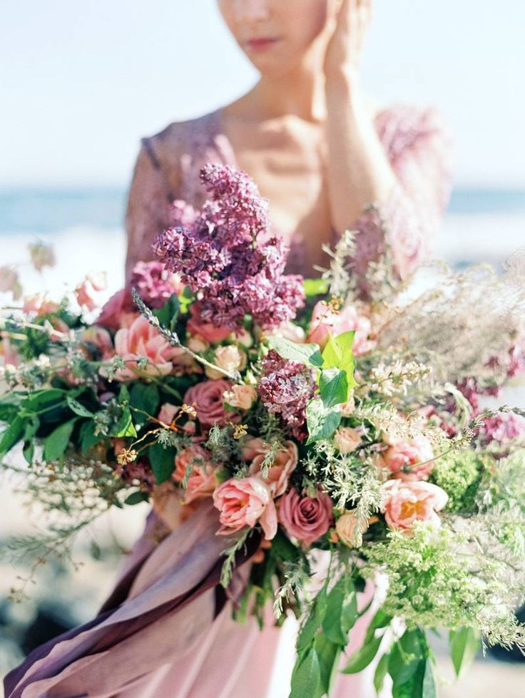 Striking ethereal beach bridals in lavender & plum via Magnolia Rouge