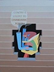 """""""Contro il logorio dell'avanguarda moderna"""" acr. su tela cm. 60x45, 1975"""