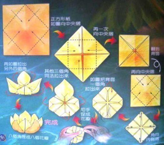 Оригами - цветок лотоса, схема