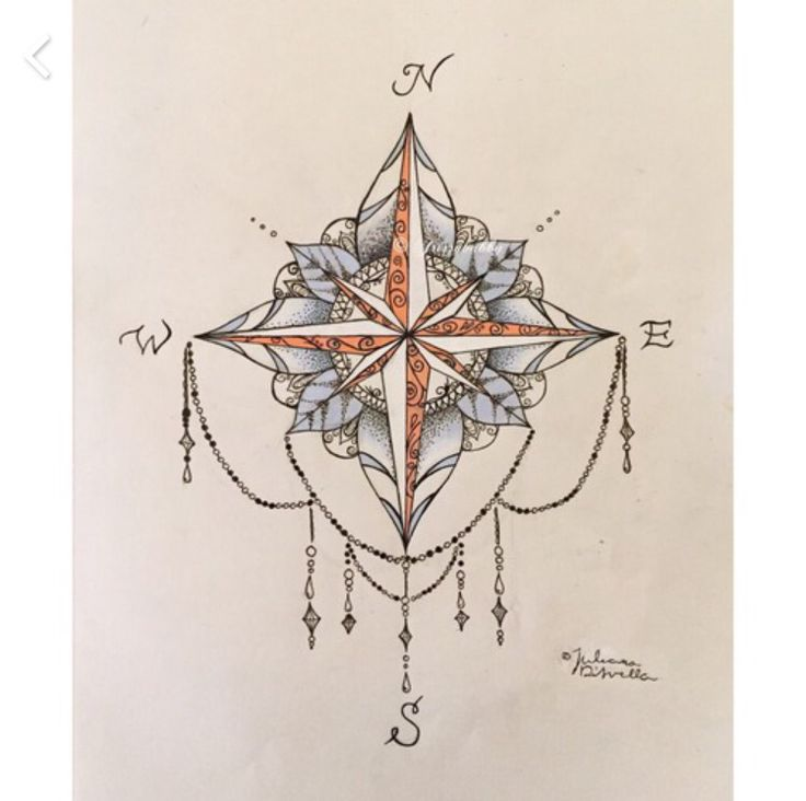 50 Beautiful Compass Tattoo Designs And Meanings: I Like The Bottom Part Of It With The Strings