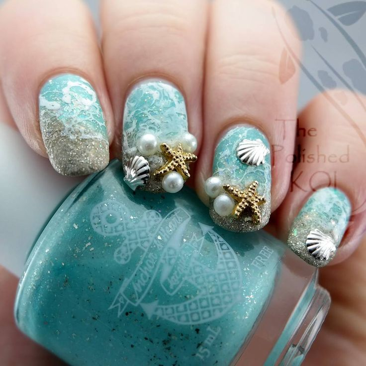 """littlek0i: """" #thelacquerring second prompt for June is beach/tropical - since I got some nail charms from @ladyqueenbeauty it was time to put together this popular beach design  I used @anchorheartlacquer [Cold Water & Sunshine] for my base color..."""