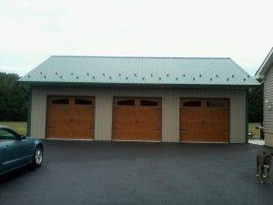 Cheap Pole Barn Garage : The Ben Handy Dimensions : 30′W x 40′L x 10′H, (3) 9Wx8H Carriage Style Wood-Grain Garage Doors, (1) 36″ 6Panel Entry Door