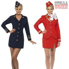 Ladies Air Hostess Stewardess Cabin Crew Virgin Style Fancy Dress Costume + Hat