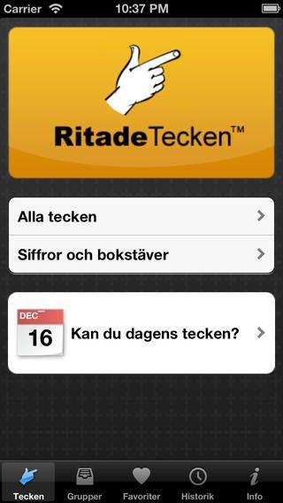 Appen RitadeTecken är en teckenordbok - appen innehåller 2200 tecken som är förknippade med vardagssituationer.