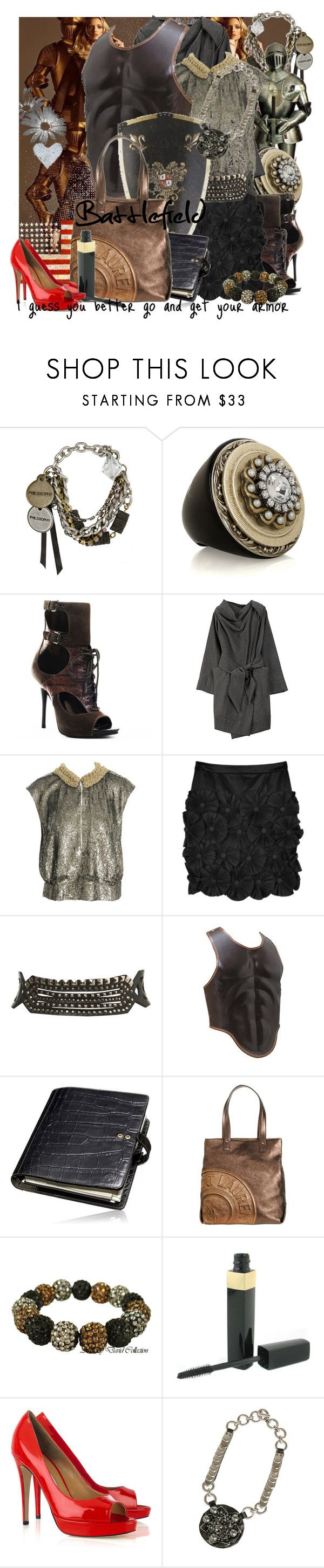"""""""BattleField"""" by emilyliz ❤ liked on Polyvore featuring Philosophy di Alberta Ferretti, Rings Eclectic, Marciano, Vivienne Westwood Anglomania, Dries Van Noten, By Malene Birger, Miss Selfridge, Mulberry, Yves Saint Laurent and Swarovski"""