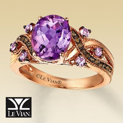 my daughter's birthstone with chocolate diamonds...would be nice to have something like this. Especially since purple is my fave color....